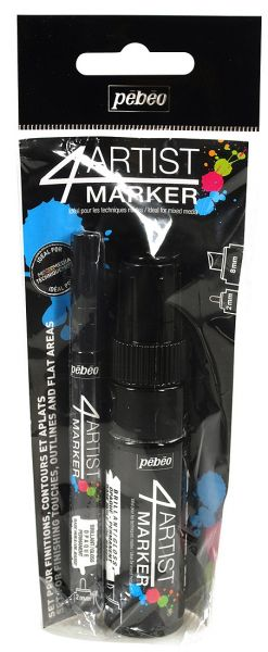 4Artist Marker Set Duo 2-8 mm Black